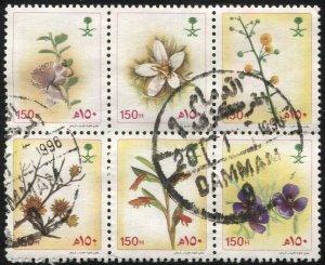 SAUDI ARABIA 1990 Scott 1117 var Used block, VF, 6 Diff. Flower species