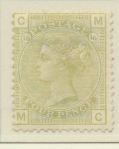 Great Britain Stamp Scott #70 Plate #16, Mint Hinged, Partial Original Gum, T...