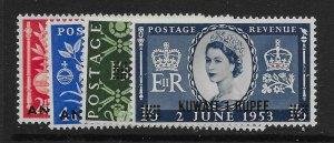 KUWAIT SG103/6 1953 OVERPRINTS ON GB CORONATION SET MTD MINT