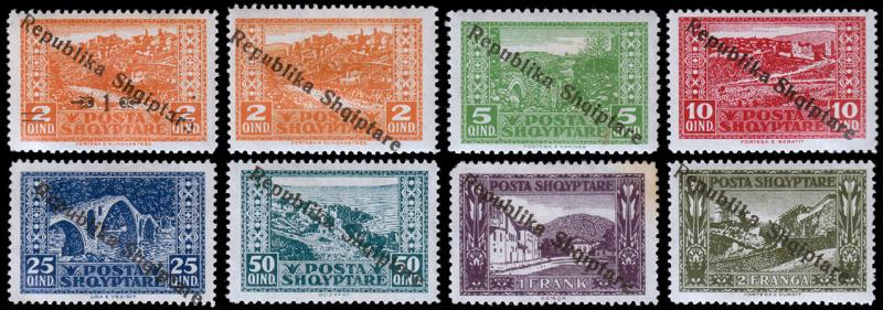 Albania Scott 178-185 (1925) Mint H F-VF Complete Set, CV $19.10