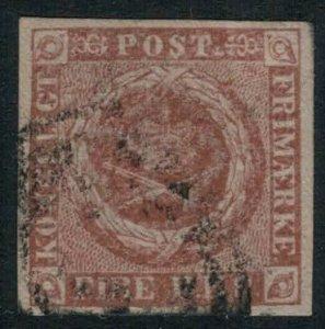 Denmark #2b CV $55.00 Four margins early postage stamp