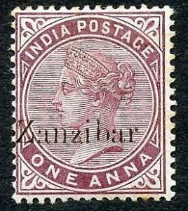 Zanzibar SG4 1d Plum Small second Z and inverted Q for B M/M