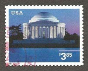 US#3647 2002 $3.85 Jefferson Memorial, XF+ Used * #S21