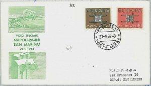 ITALIA storia postale - PRIMI VOLI: Volo speciale NAPOLI - RIMINI - SAN MARINO