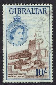 GIBRALTAR 1953 QEII CASTLE 10/- USED