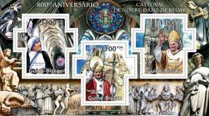 GUINE BISSAU 2011 SHEET REIMS CATHEDRAL NOTRE DAME MOTHER TERESA POPES JOHN PAUL