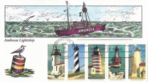 COLLINS HAND PAINTED FDC Sc# 2470-74 Light Houses 1999 First Day Issue Cover
