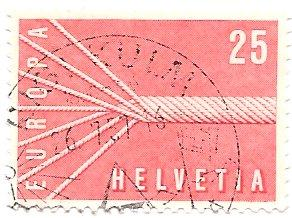 Switzerland 363 (used) 25c Europa: rope as symbol of unity, lt red (1957)