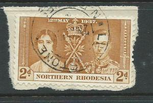 Northern Rhodesia  SG 23 VFU  on piece day of issue cancel