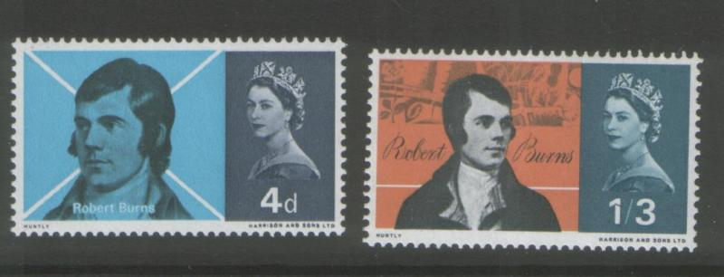 Great Britain 1966 Burns (2) Scott # 444-45