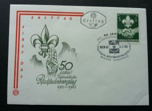 Austria 50 Years Of Scouting 1962 Jamboree Scout Hand (FDC) *see scan