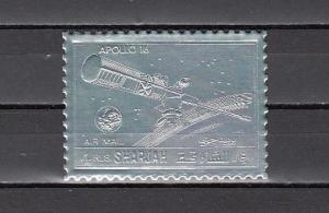 Sharjah, Michel cat. 1057 A. Silver Foil for Apollo 16 issue.