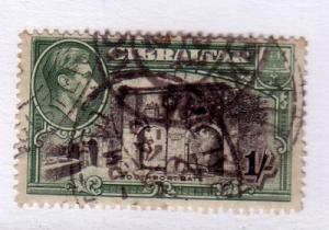 Gibraltar Sc 114b 1/ Gate & G VI pf 13 ½ stamp used