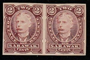 SARAWAK 1895 2c brown colour trial IMPERF pair hinged mint.................65683