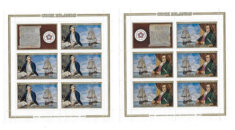 Cook Islands 1976 American Revloution Sheet MNH C2