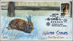 20-258, 2020, Winter Scenes, First Day Cover, Pictorial Postmark, Cottontail