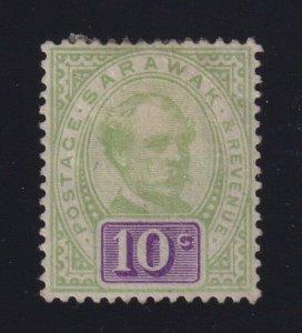 Sarawak Sc #15 (1891) 10c green & violet Charles Johnson Brooke Mint VF H