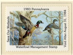 US PA1 PENN  STATE DUCK STAMP 1983 MNH SCV $15.00 BIN $7.50