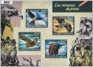 885 - CENTRAL AFRICAN - ERROR - MISSPERF stamp sheet  2014  Owls - Eagles BIRDS