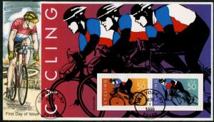 #3119A CYCLING (2) DIFFERENT COLLINS FDC CACHET HAND PAINTED BP7499