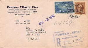 Cuba, 1940 Registered Airmail Cover, Havana to New York, Many Postal Markings