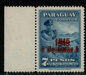 $Paraguay Sc#428 M/NH/XF double O/P, expertized