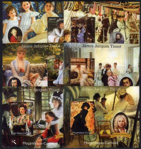 Mozambique 2004 Sc#1730 James Jacques TISSOT Paintings & Musicians 6 S/S MNH