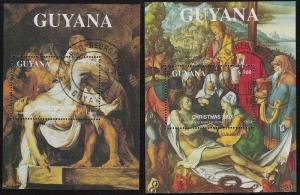 Guyana- Scott 2749f & 2749g- Descent From The Cross,Cto Weihnachten Blätter 1993