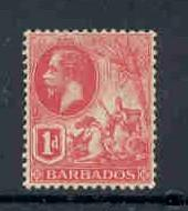Barbados Sc 118 1912 1d carmine George V  stamp mint