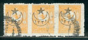 Turkey Scott # 301, used, strip of 3, perf 13.25