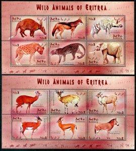 HERRICKSTAMP ERITREA Sc.# 351-52 2001 Wild Animal Mint NH