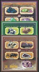 2001 Chad Beautiful Minerals and Gemstones, 3 Sheets VF/MNH! CAT 39$