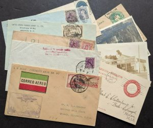 EDW1949SELL : MEXICO Collect of 6 covers & 4 Post cards, some interesting usages