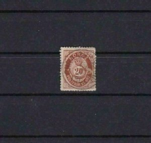 NORWAY 1877 20 ORE BROWN   USED STAMP CAT £19 R3851