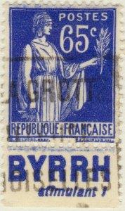 FRANCE - 1937 Pub BYRRH (stimulant!) inférieure sur Yv.365b 65c Paix - obl. TB