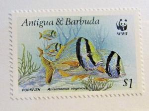 ANTIGUA & BARBUDA Scott #1010 ** MNH, WWF, PORKFISH, fish, V fine + 102 card