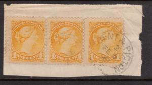 Canada #35viii Used Strip Of Three On Piece **With Certificate**