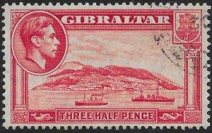 GIBRALTAR SG123a 1938 1½d CARMINE p13½ USED