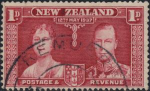 NEW ZEALAND - 1937 -  REMUERA  CDS on SG599 1d carmine Coronation