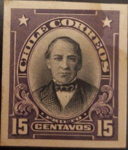 J) 1910 CHILE, JOAQUIN PRIETO, AMERICAN BANK NOTE, DIE PROOF, IMPERFORATED