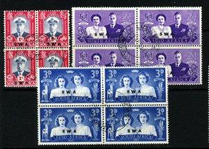 SOUTH WEST AFRICA 1947 Royal Visit Set Overprinted SWA SG 134 to SG 136 BLOCKS