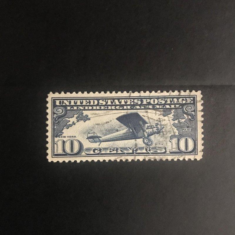 Scott #C10 Airmail 1926-27 10c Dark Blue Used XF Very light cancel