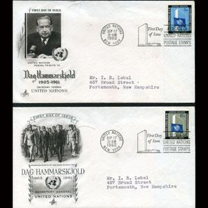 UN-NEW YORK 1962 - FDC-Hammarskjold Set of 2
