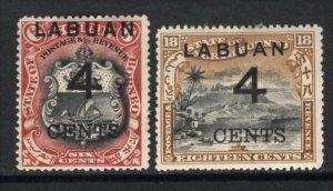 Labuan 1899 4c Surcharges on 6c + 18c Perf 14.5 VF Mint #88,91 CV$74