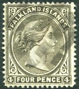 FALKLAND ISLANDS-1887 4d Grey-Black Sg 10 FINE USED V30338