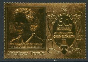 TUVALU NUKUFETAU QUEEN ELIZABETH  II 60th BIRTH OFFICIAL GOLD FOIL STAMP MINT NH