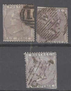 COLLECTION LOT # 2141GREAT BRITAIN #27 (3 STAMPS) 1856 CV=$300 FAULTY