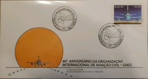 A) 1984, BRAZIL, AIRPLANE, 40 ANNIVERSARY OF THE INTERNATIONAL CIVIL AVIATION OR