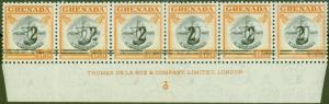 Grenada 1965 2 on $1.50 Black & Orange Var Setting A & B in a V.F MNH Imprint St