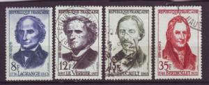 J20165  jlstamps 1958 france set used #869-72 scientist